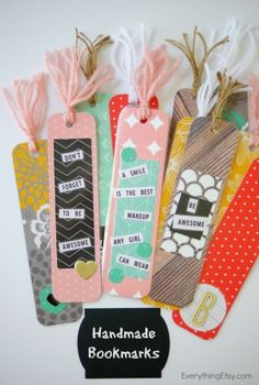 DIY Back to School Projects for Teens and Tweens Handmade- CUTE and FUN Do it Yourself Paper Craft Bookmarks-Back-to-school-DIY via tatertots and jello
