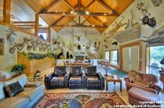 Rustic game room, taxidermy, mounts, big game hunting, trophy room.