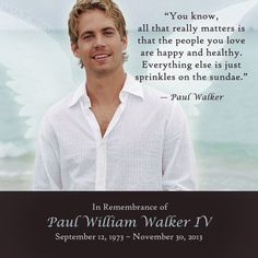 This is a very meaningful life quote by Paul Walker. Just one of many special things he's left behind.  He has gone too soon, and will be greatly missed.  #RIP #PaulWalker #Quote