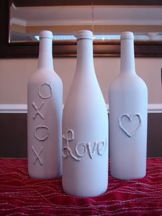 This DIY Valentine's Day decoration is simple! Use your Arrow hot glue gun to draw love-related designs and words on old glass bottles (wine bottles work great!). Once the glue dries, you can paint the bottles red, white, pink or any color you'd like. This is a great decoration for the table or mantel in your home! In fact, you could probably leave it out year-round. www.arrowfastener.com