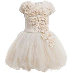 Monnalisa Chic - Ivory Neoprene & Tulle 2 Piece Couture Dress | Childrensalon