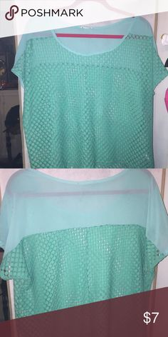 Teal crochet knit top/sheer nylon back shoulders Crochet Lace see-thru with Sheer Nylon shoulders in back.  Teal color; gently used. Scoop neck and High Lo top with cap sleeves. Kohls Tops Tank Tops
