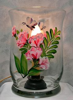 Hand Painted Spring Exotic Floral Hurricane Vase Light on Etsy, £19.59
