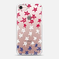 iPhone 7 Case Red, White & Blue Stars (transparent)