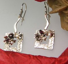 sterling silver long earrings flowers garnet and by nikiforosnelly, $47.00