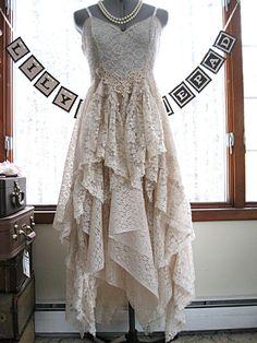 Champagne / soft beige alternative bride tattered by LilyWhitepad