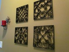 Faux metal wall art made from TOILET PAPER ROLLS??  What?  I am so doing this.  It will match the IRON stuff I had MADE when I lived in Italy @@ :)