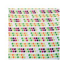Coton imprimé pois verts, roses et oranges sur fond blanc, 10 € les 3 mètres les coupons de saint pierre