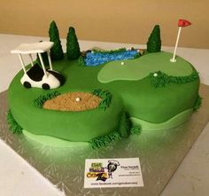 Learning About Golf Is Fun With These Professional Tips. Golf is wonderful pastime that is enjoyed by everyone of all ages. However, even though there is a wide range of ages, personalities and abilities of golf Golf Themed Cakes, Golf Birthday Cakes, Golf Cakes, 40th Birthday, Golf Grooms Cake, Groom Cake, Groomsman Cake, Minion Torte, Golf Course Cake