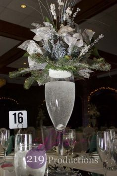Wedding centerpiece for a winter wonderland with 219 Productions