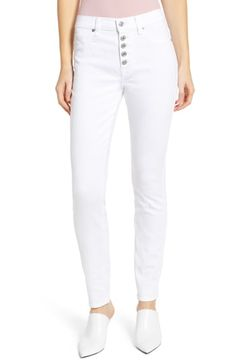 c0a179df19 7 For All Mankind® Button Fly High Waist Ankle Skinny Jeans