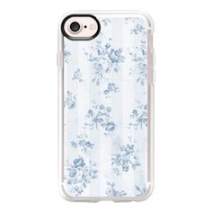 Rustic vintage blue white stripes elegant floral - iPhone 7 Case And... (€36) ❤ liked on Polyvore featuring accessories, tech accessories, phone cases, phones, cases, blue, iphone case, apple iphone case, floral iphone case and iphone cases