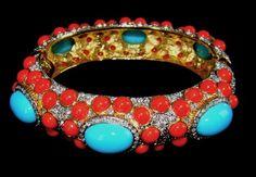 Kenneth J. Lane Turquoise & Coral Cabs Bangle Bracelet