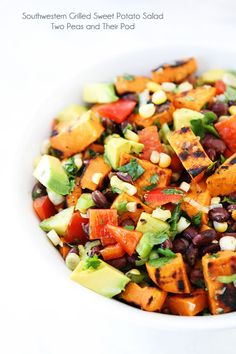 Southwestern Grilled Sweet Potato Salad Recipe on twopeasandtheirpod.com Love this summer salad! #salad #vegan #glutenfree #summer