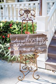 pineapple wooden wedding welcome sign