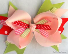 Light pink hair bow big hair bow girls baby by PoshPrincessBows1, $12.25
