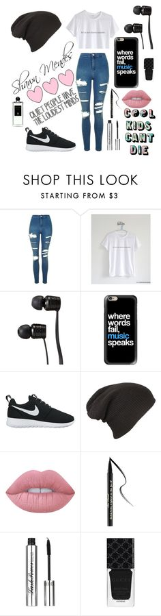 """""""Love him"""" by alexandraanton ❤ liked on Polyvore featuring Topshop, Vans, Casetify, NIKE, Lime Crime, Too Faced Cosmetics, Gucci, Serge Lutens, nike and gucci"""