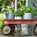 Red wagon: Heart Rocks in my Pocket: Radio Flyer Wagon on the Front Porch Radio Flyer Wagons, Old Crates, Wagon Planter, Little Red Wagon, Decks And Porches, Lawn And Garden, Garden Tools, Outdoor Projects, Porch Decorating