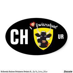 Schweiz Suisse Svizzera Svizra Switzerland Kleber Ovaler Aufkleber