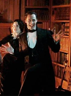 those crazy Sharpe siblings - Jessica and Tom being silly on set of Crimson Peak