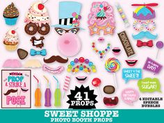 Sweet Shoppe Party Photo Booth Props Cupcake por SimplyEverydayMe