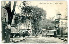 Ballston-Spa-NY-TROLLEY-INTERSECTION-AT-MILTON-SQUARE-Postcard