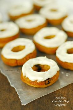 Pumpkin Chocolate Chip Baked Doughnuts with Cream Cheese Frosting # ...