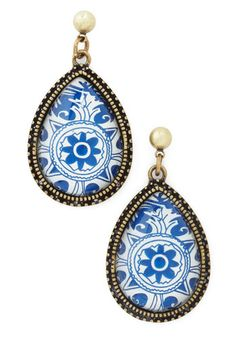 Delft of Possibilities Earrings - Blue, Gold, Print, White, Party, Top Rated