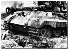 March 1, 1945. Dead German soldiers lie alongside a King Tiger tank. Pomerania.