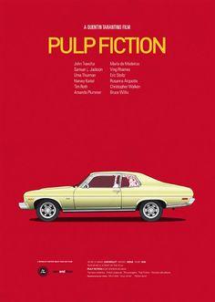"""""""Cars and Films"""", une jolie série de posters de l'illustrateur espagnol Jesus Prudencio qui rend hommage aux voitures des films cultes, avec les classiques Ec"""