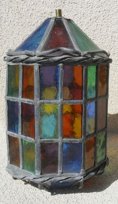 Gorgeous Leaded Stained Glass Lantern by ARTTIRAGS on Etsy, $125.00