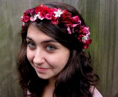 Flower Hair Wreath -  Red Rose Pink and White Flower Crown.  Weddings Flower Girl, Pink Flower Crown. $44.00, via Etsy.