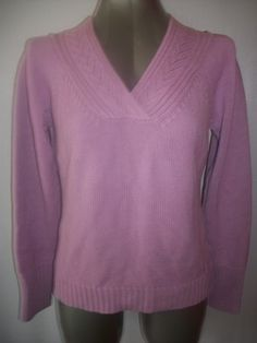Orchid Purple Vee Neck Sweater By Ann Taylor Loft.  Crochet trim detailing at neckline.  Sz L.  http://stores.ebay.com/Classy-Fashions-and-Accessories