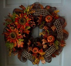 LARGE Fall Deco Mesh Wreath by ADoorableCreations05 on Etsy, $90.00