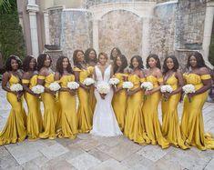 Yellow Bridesmaid Dresses, Wedding Dresses, Wedding Looks, Dream Wedding, Summer Wedding, Black Bride, Yellow Wedding, Brides And Bridesmaids, Wedding Styles