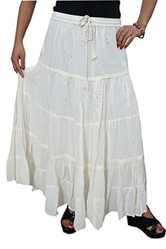 Mogul Interior Womans Off-White Maxi Skirt Bohemian Embroidered Georgette Skirt - Fashion Bohemian Skirt, Boho Chic, Skirt Fashion, Fashion Dresses, White Maxi Skirts, Boho Girl, Hi Low Dresses, Renaissance Fashion, Shopping