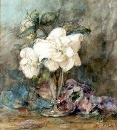 Sina 'Sientje' Mesdag-van Houten (Groningen 1834-1909 Den Haag) Camelia's in vaasje - Kunsthandel Simonis en Buunk, Ede (Nederland).