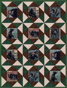 This rustic pre-cut quilt kit is an outdoor nature kit that features 7 different fussy cut black bear focal vignettes with mostly green leaves, branches and floral as the background. A bit of rustic t