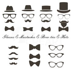 Mustaches hats glass bowtie Clipart Hipster icons for