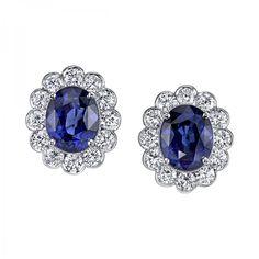 Classical Sapphire and Diamond Earrings style EC1100-SAOV.