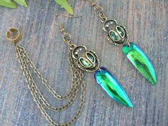 jewel beetle chained ear cuff set jeweled beetle wings cuff jewels rhinestones  vampire goth victorian goddess pagan boho gypsy