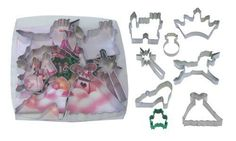 R & M International Best Selling Collection of Princess Themed Cookie/Craft Cutters. High Quality Intricate Set of 8 Includes Crown, Castle, Ring, Wand, Unicorn, Slipper, Frog and Dress