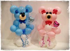 www.globofiesta.com, especial ositos amorosos, realizado con #globos, para #celebrar la llegada de los #recién #nacidos