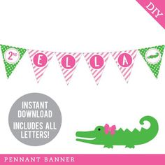 This DIY printable pennant banner will be the highlight of your party decorations! Each triangle... Alligator Birthday Parties, Alligator Party, Pennant Banners, Name Banners, Crocodile Party, Happy Birthday Name, 2nd Birthday, Birthday Ideas, Goodbye Party