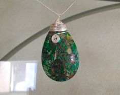Custom Made Sea Sediment Jasper Necklace, wire wrapped with love. ON SALE!