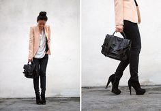 1. blazer, ZARA  2. bag, PROENZA  3. shoes, TOPSHOP