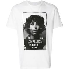 Neil Barrett Jim Morrison Print T-Shirt ($285) ❤ liked on Polyvore featuring men's fashion, men's clothing, men's shirts, men's t-shirts, white, mens patterned shirts, mens cotton t shirts, mens white shirts, mens white t shirts and mens short sleeve t shirts