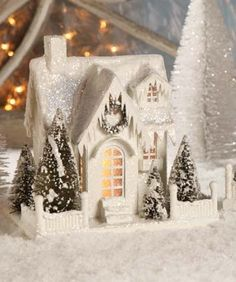 Bethany Lowe Christmas Village Large White Ivory House Cottage Single Roof for sale online Christmas Village Houses, Christmas Village Display, Cottage Christmas, Putz Houses, Christmas Villages, Christmas Home, Christmas Holidays, Christmas Crafts, Christmas Decorations