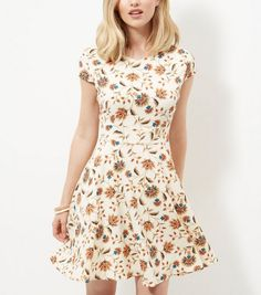 Mela Cream Floral Print Cap Sleeve Skater Dress  | New Look