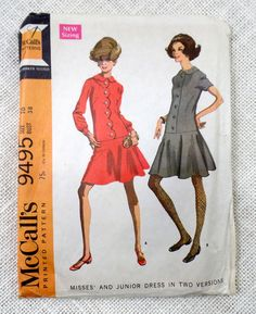 Vintage Dress Pattern McCall's 9495 by momandpopcultureshop Vintage Dresses 1960s, Vintage Dress Patterns, Clothing Patterns, 60s Patterns, Mccalls Patterns, Vintage Clothing, 60s And 70s Fashion, Vintage Fashion, Vintage Style